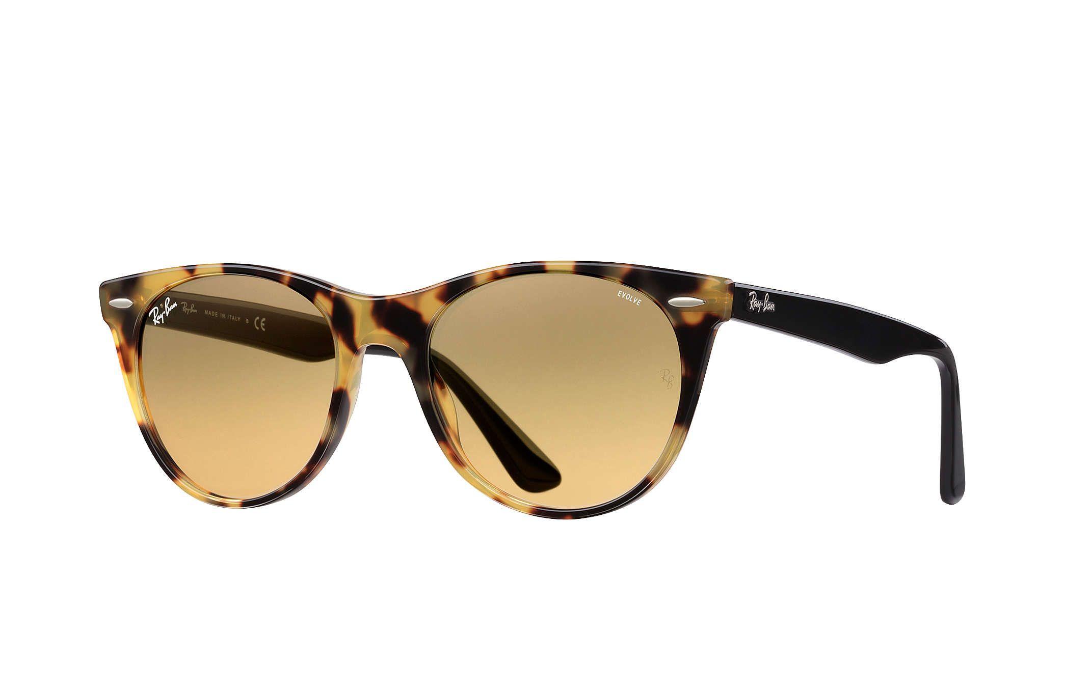 Ray Ban 0rb2185 Wayfarer Ii Evolve Yellow Havana Black Sun Sunglasses Ray Bans Rayban Wayfarer