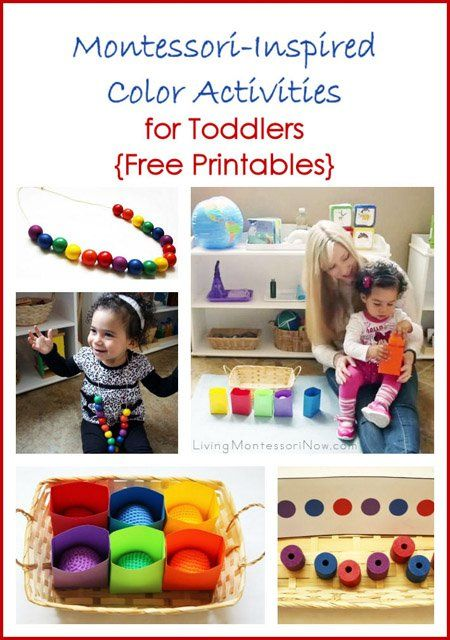 Montessori-inspired activities for introducing color matching for toddlers using Spielgaben educational toys and free printables. Post includes YouTube video with presentation idea.