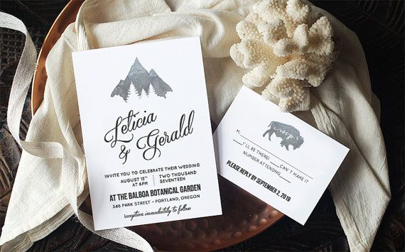 Invitations Word Template Classy Rustic Wedding Invitation Template  Montana  Instant Download .