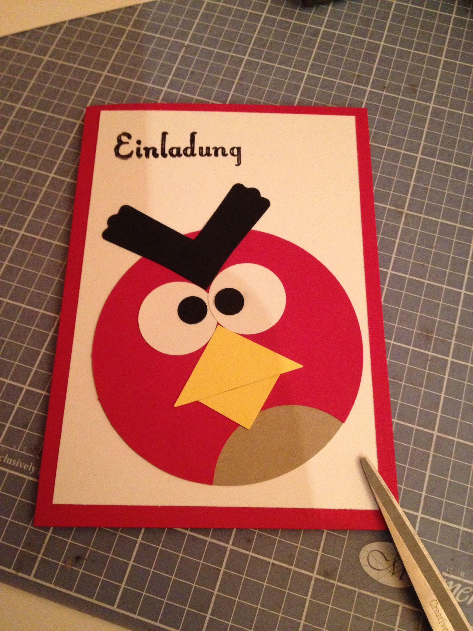 Geburtstags Einladung Angry Birds Basteln Pinterest