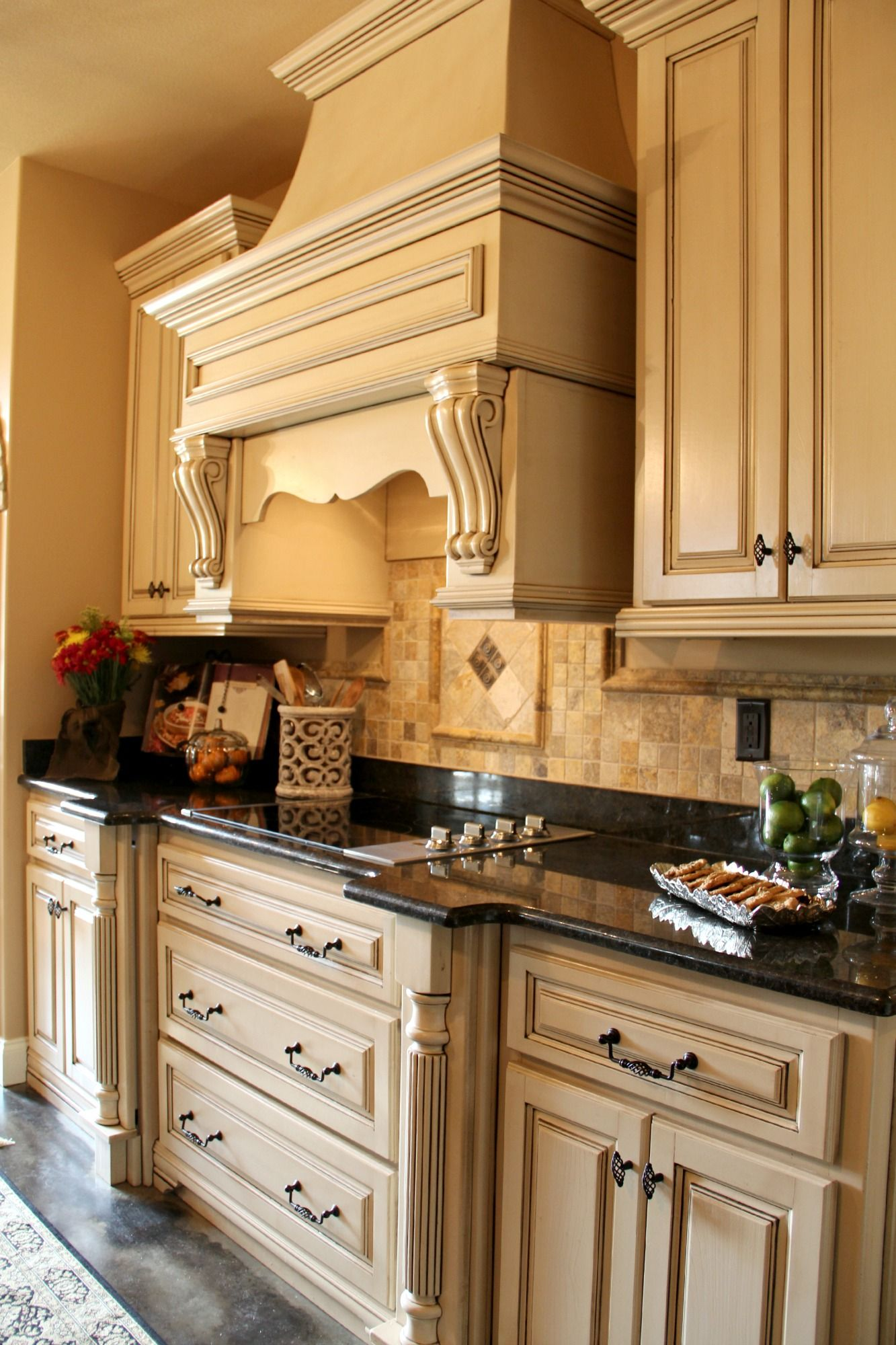 Buttercream Antiqued Custom Cabinets Photo Gallery