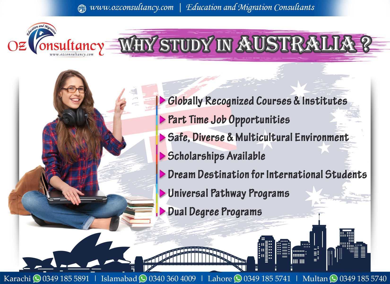 Oz Consultancy Working Professionally To Set Your Big Dreams In To Reality Call Us At Karachi 0349 1855 8 With Images Assessment International Students Degree Program
