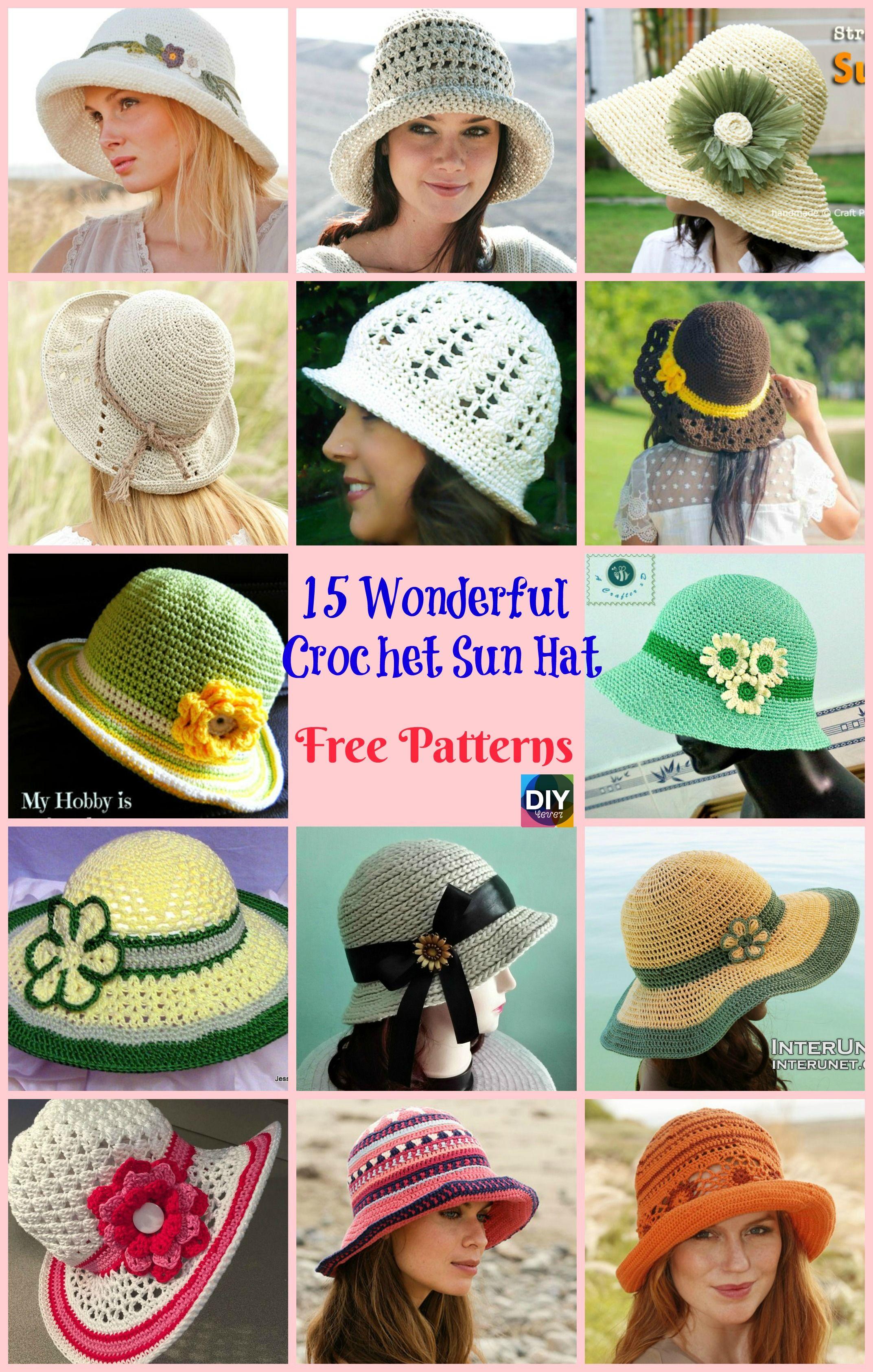 12 Amazing Crocheted Sun Hat Free Patterns   Crochet sun hat ...