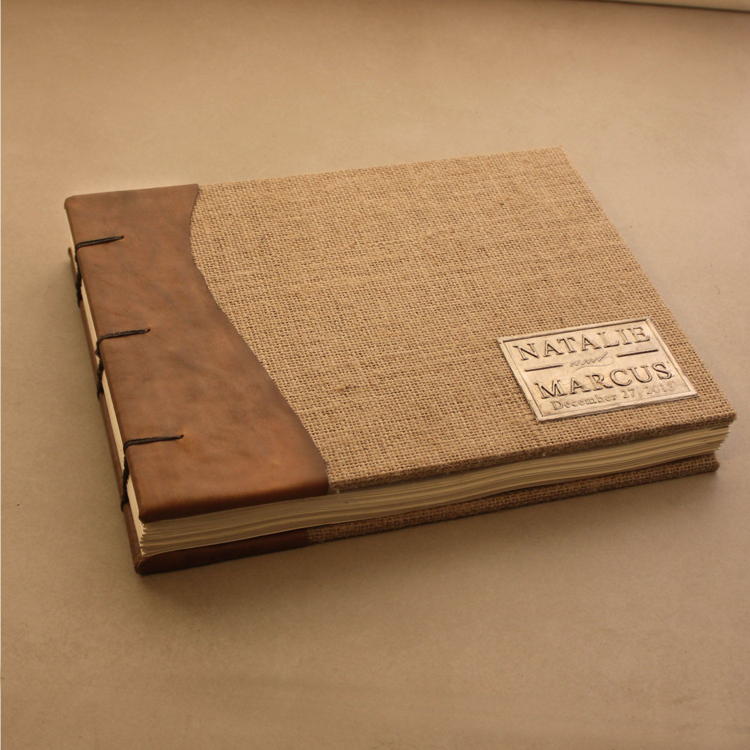 rustic wedding guest book leather and burlap coptic