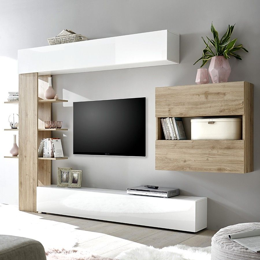 Salon Moderne Canape D Angle Et Banc Tv In 2020 Living Room Tv