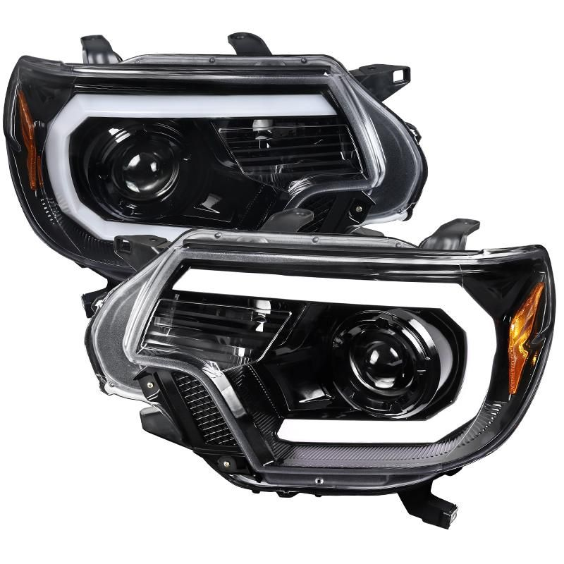 Spec D Projector Headlights Toyota Tacoma Drl C Bar 2012 2015 Black Or Chrome Toyota Tacoma Projector Headlights Tacoma Headlights