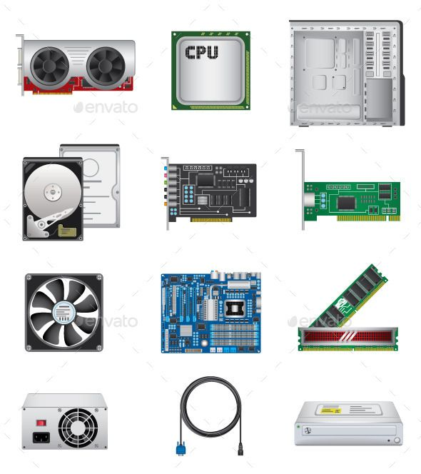 Computer Components Icons Set Isolated On White Background Files