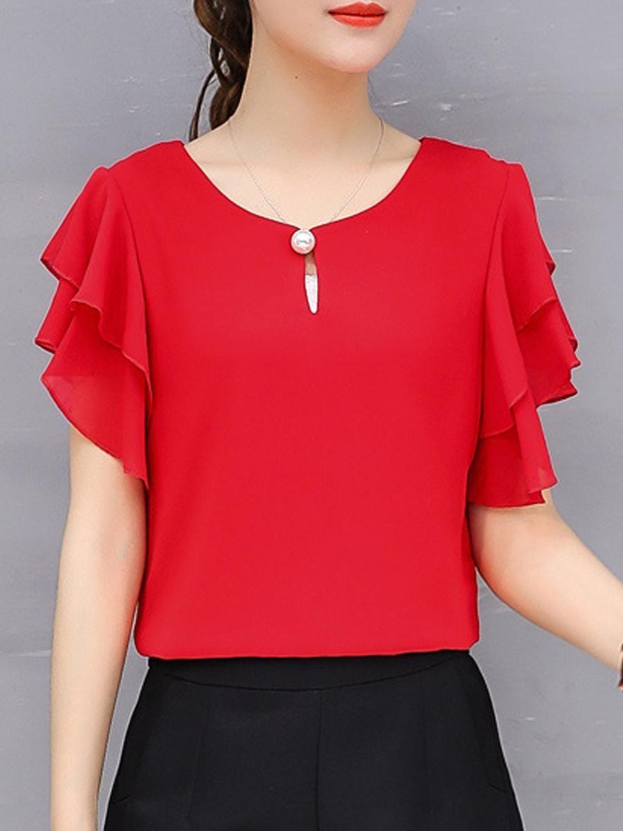 d45933878507a3 #EnvyWe #BerryLook - #berrylook Summer Chiffon Women Round Neck Beading  Plain Short Sleeve Blouses - EnvyWe.com