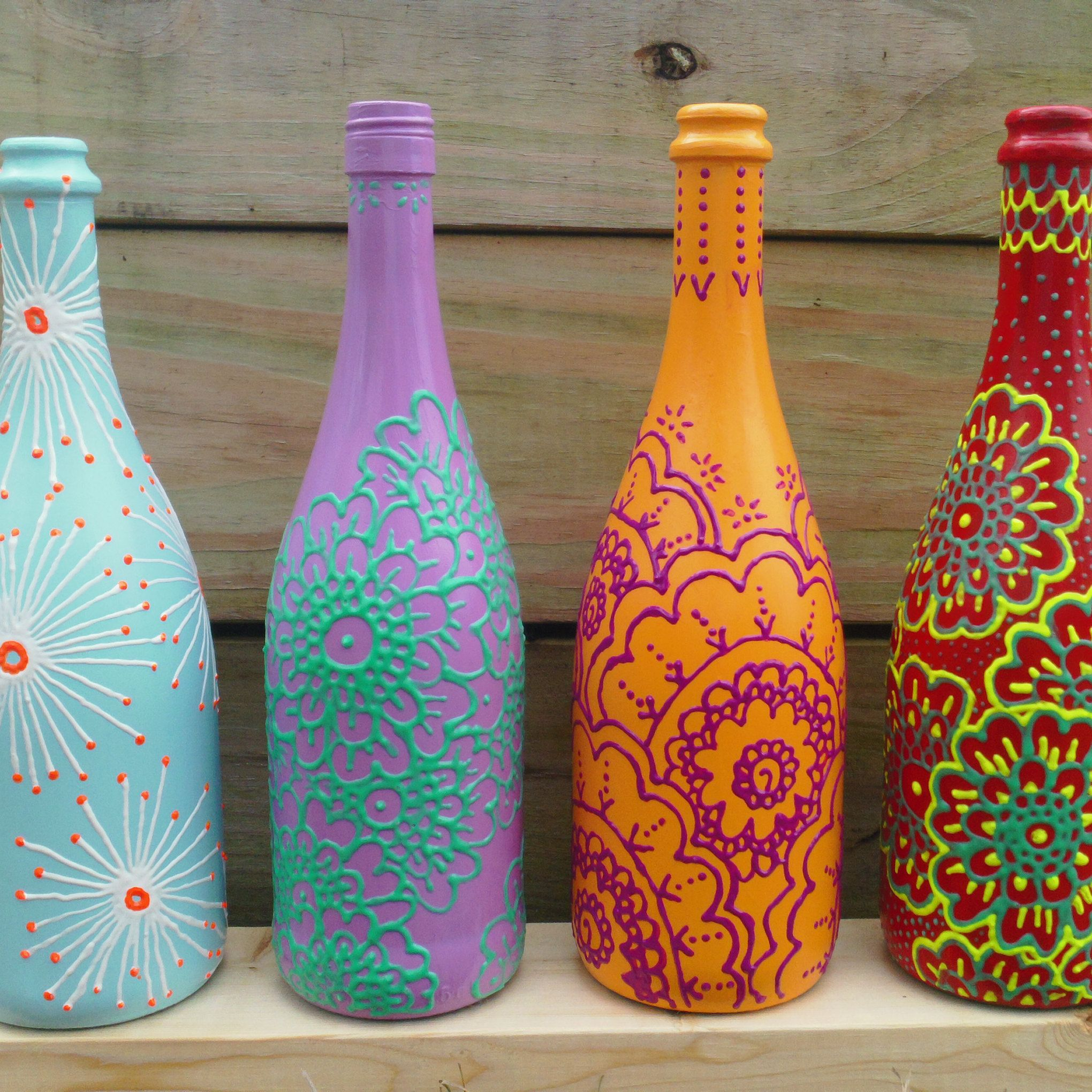 Hand Painted Wine Bottles #Artsy #Etsy #Socool