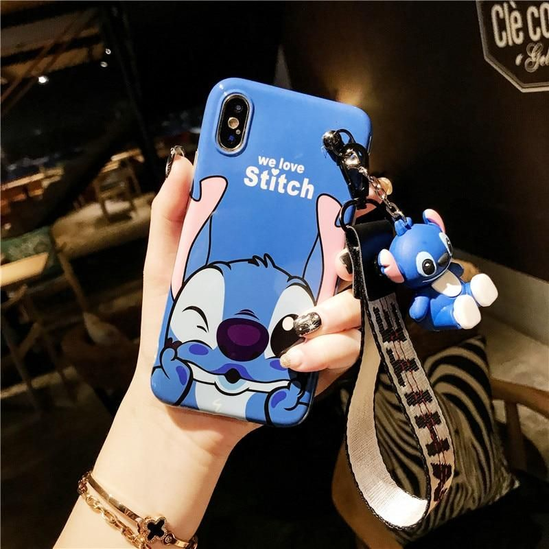 Cute Stitch Minnie Silicone Case for iPhone 6 7 8 plus X XR XS MAX 11 Pro Max for Samsung S9 S10 Plus