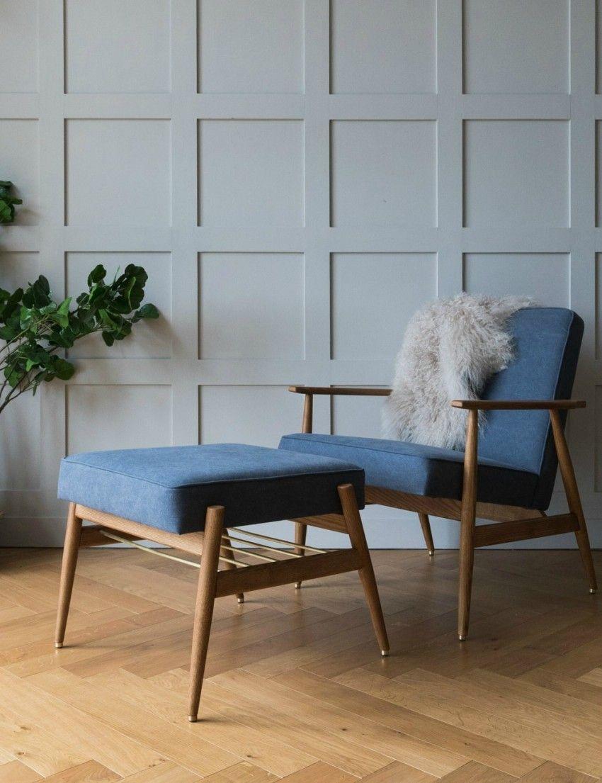 H. Lis Fox Easy Chair Denim - six colours available | Footrest ...
