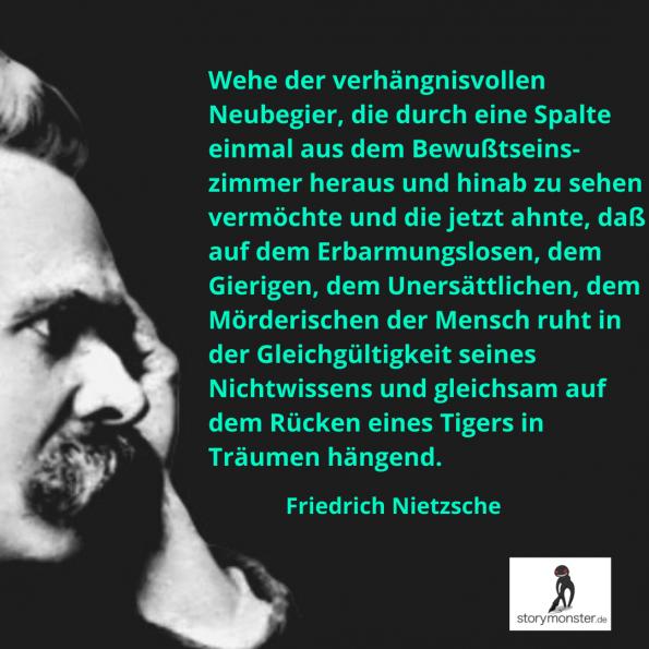 Nietzsche Zitat Bewusstsein Tiger Lovecraft Horror Storymonster Nichtwissen Erbarmungslos Schreibtipps