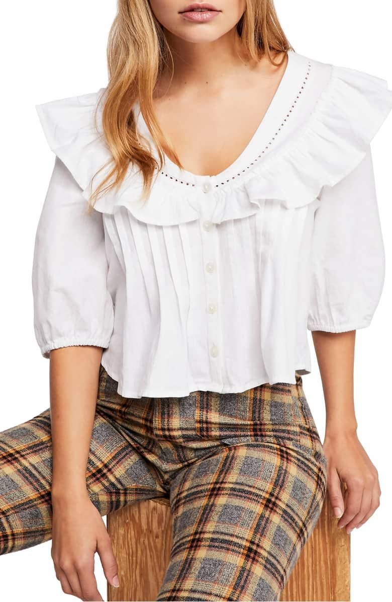 0c24fdb7f81a Endless Summer by Free People Sylvia Ruffle Blouse, Main, color, WHITE