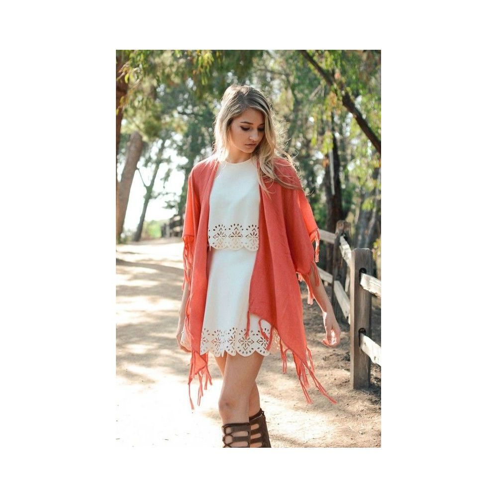 Watermelon Coral Solid Tassel Kimono Cardigan Scarf | All the Nice ...