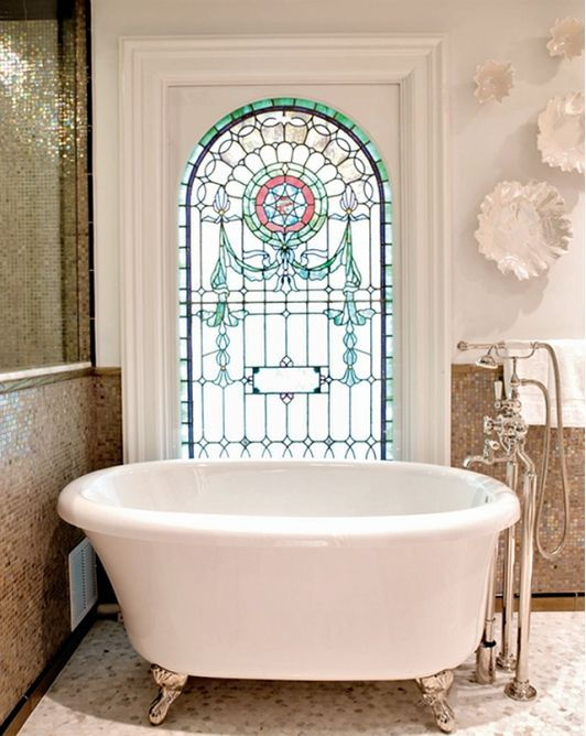 Bathroom with Stained Glass Window Beautiful Bathrooms Pinterest
