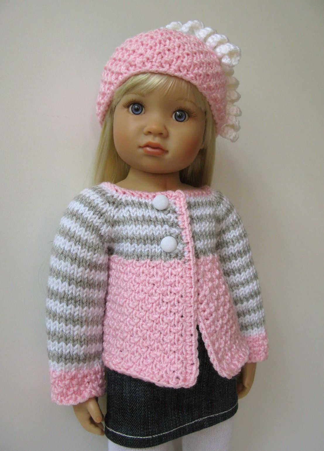 hand knitted by me sweater set | Knitting dolls clothes ...