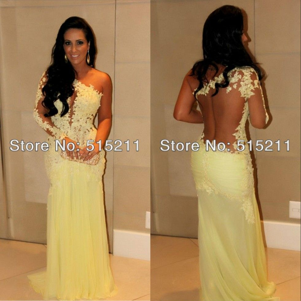Elegant lace one shoulder mermaid style see through celebrity