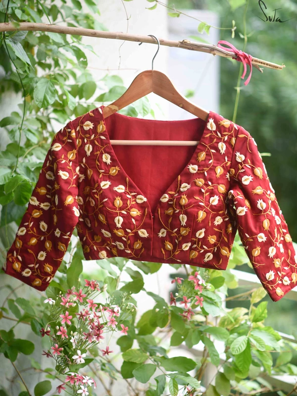 Quilted khadi blouse two layered and quilted hand-spun and handwoven sari blouse Saree blouse front button opening . comfort fit