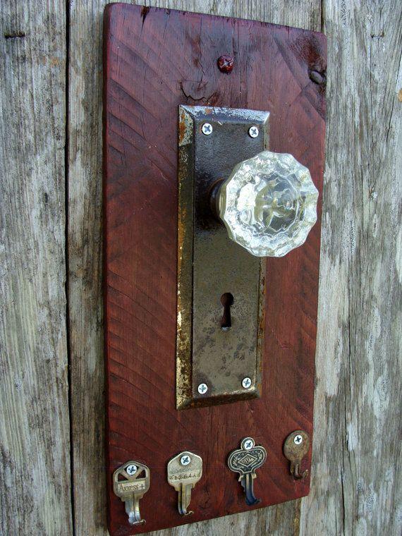 Decorative Rustic Key Rack using a glass door knob, antique door plate and  repurposed keys #4 - Decorative Rustic Key Rack Using A Glass Door Knob, Antique Door