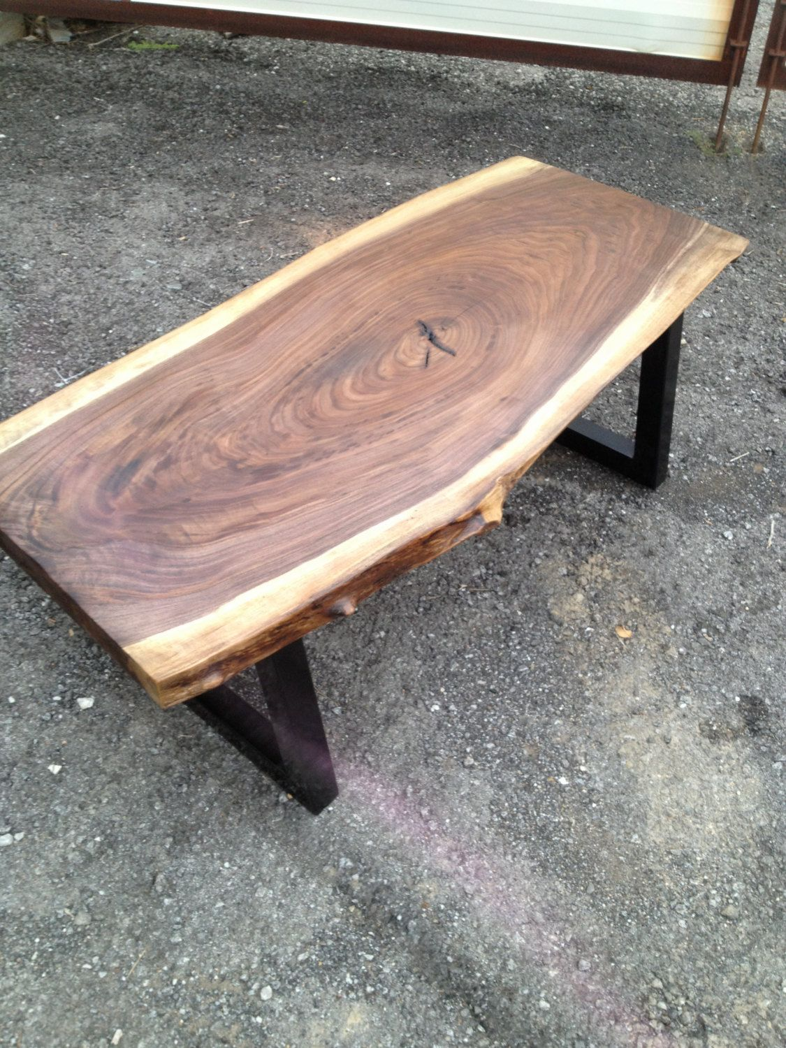 Live Edge Coffee Table Rustic Modern Black Walnut With Metal