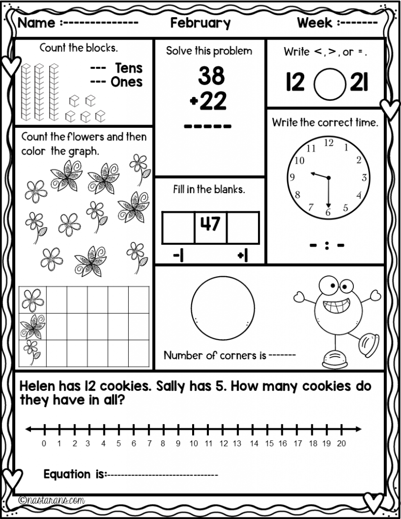 Daily Math Worksheets Spiral Review In February And A Freebie Math Review Worksheets Daily Math Math Review [ 1024 x 791 Pixel ]