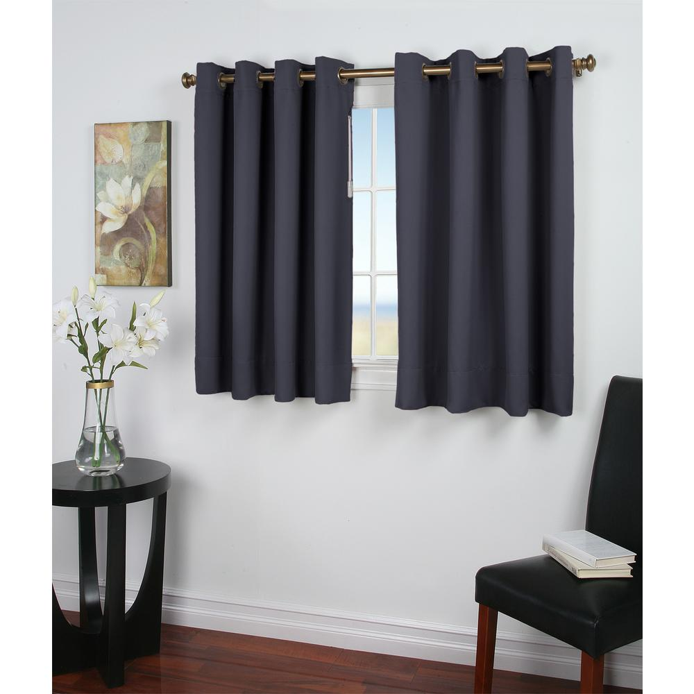 Ricardo Trading Ultimate Blackout 56 In W X 45 In L Polyester Short Length Blackout Window Panel In Blue 02000 79 045 03 The Home Depot Panel Curtains Short Window Curtains Curtains