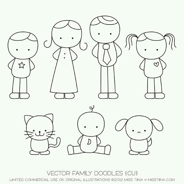 familia simple doodles drawingshow - Simple Cartoon Drawings For Kids