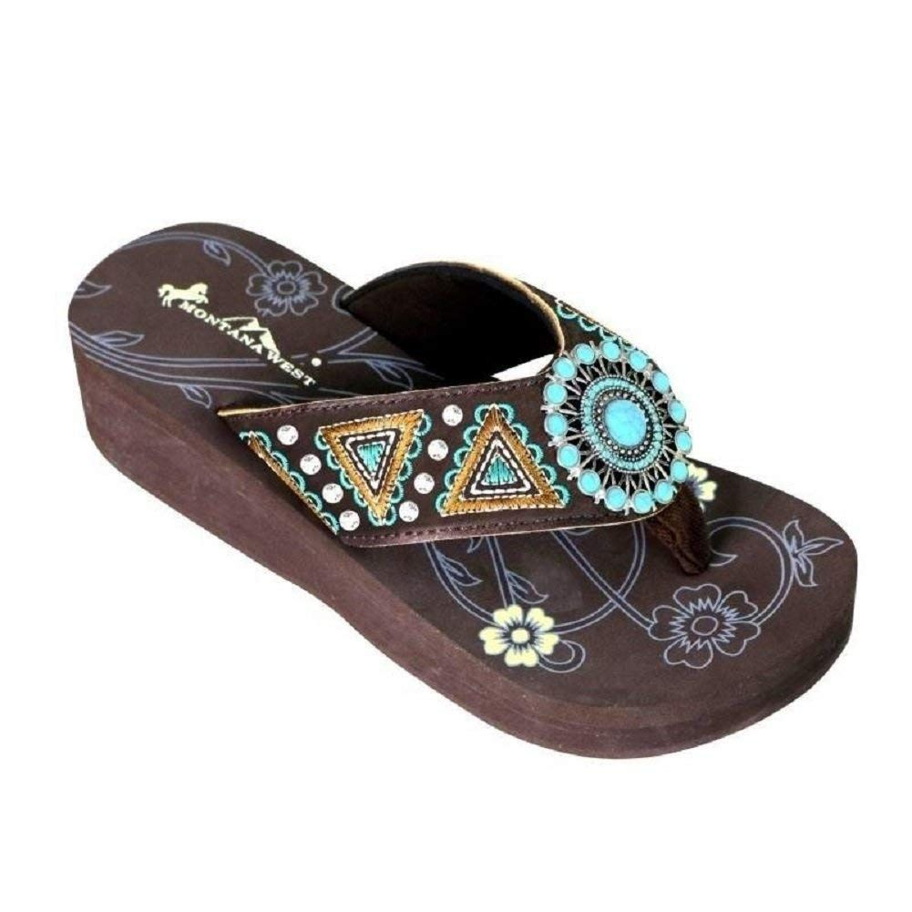Montana West Embroidered Aztec Hippy Turquoise Concho