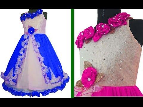 b34387134 How to make One Shoulder Floor length dress with Handmade Flower For baby  girl (Hindi Version) - YouTube