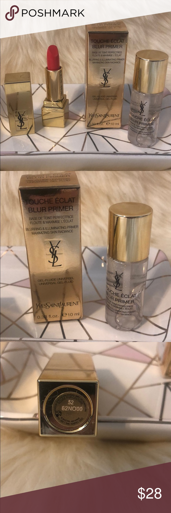 YSL Touché Éclat Blur Primer and Couture Lipstick in 2020