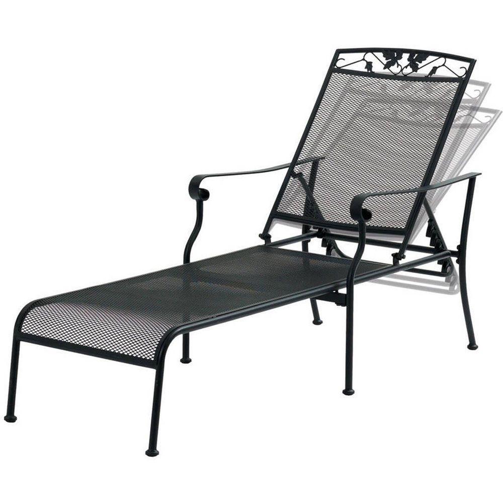 Chaise Lounge Chair Black Wrought Iron Garden Backyard Patio
