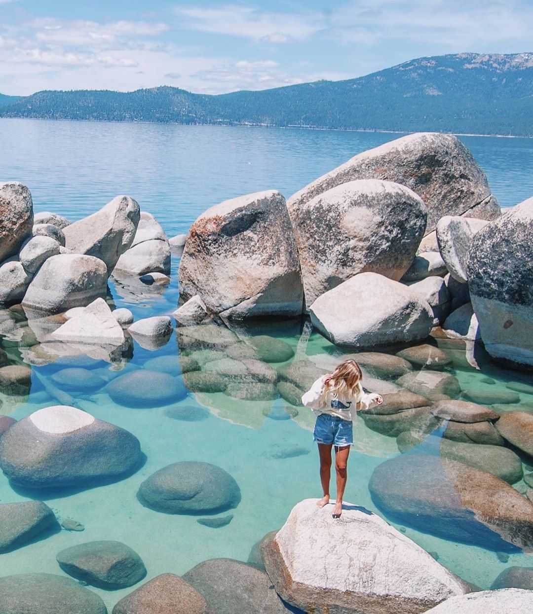 """JOSH & CLARA on Instagram: """"Clearest water we ever did see... seriously how is this place real??! .  #laketahoe #sandharbor #clearwater #emeraldbay #tahoe #roadtrip…"""""""