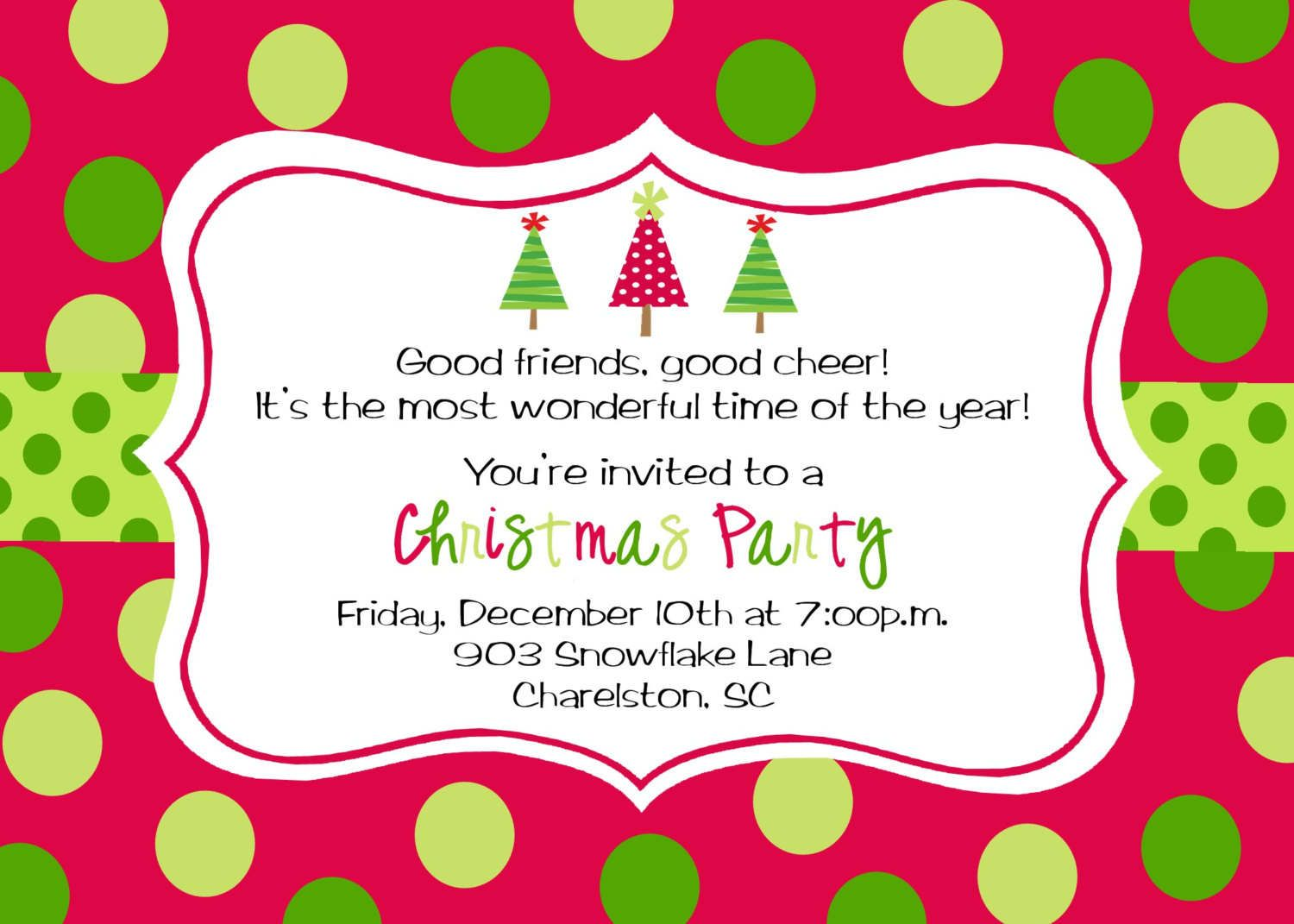 Colorful Christmas Holiday Party Invitation Template With Polkadot  Background Style  Christmas Dinner Invitation Template Free