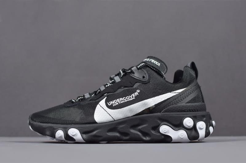 99912fd4e0c4c Undercover x Nike React Element 87 Black White Running Shoes AQ1813 ...