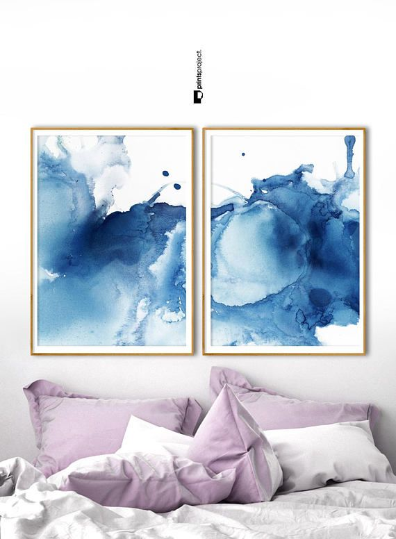 Set Of 2 Abstract Prints Modern Blue Poster Indigo Etsy In 2021 Abstract Prints Diptych Art Bedroom Wall Art