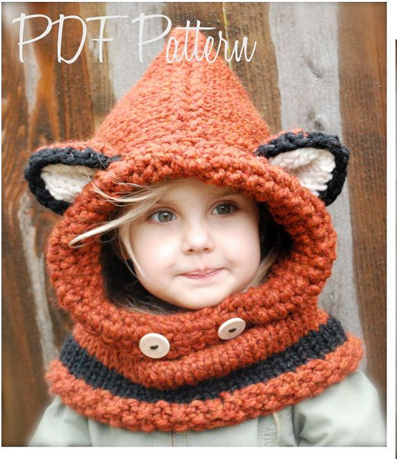 Knitting PATTERN-The Failynn Fox Cowl (Toddler - Child - Adult sizes ... 5fbf71ce3a