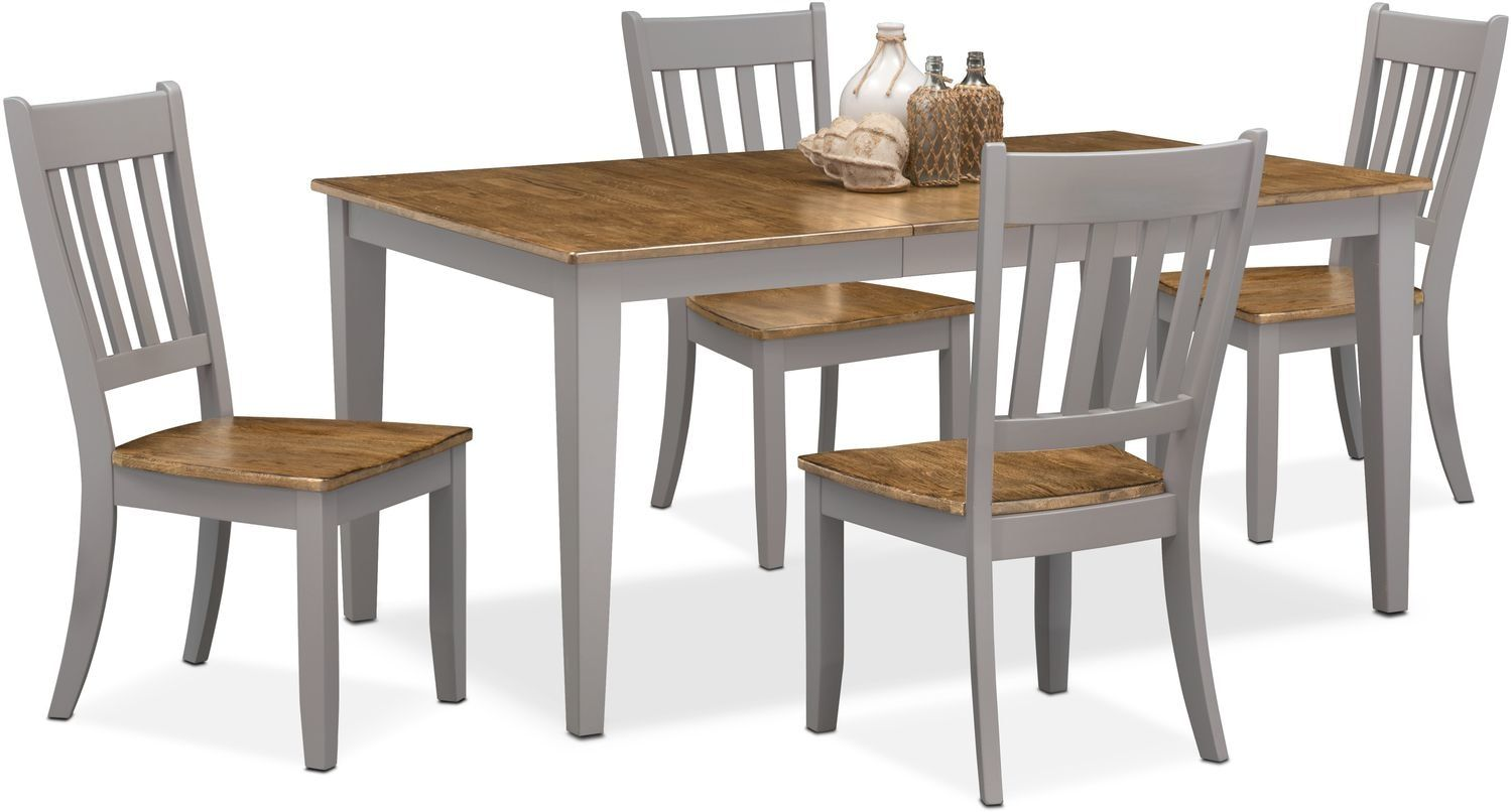 Nantucket Dining Table And 4 Slat Back Dining Chairs Dining