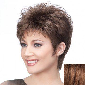 Graceful Short Haircut Capless Stylish Side Bang Fluffy Straight ...