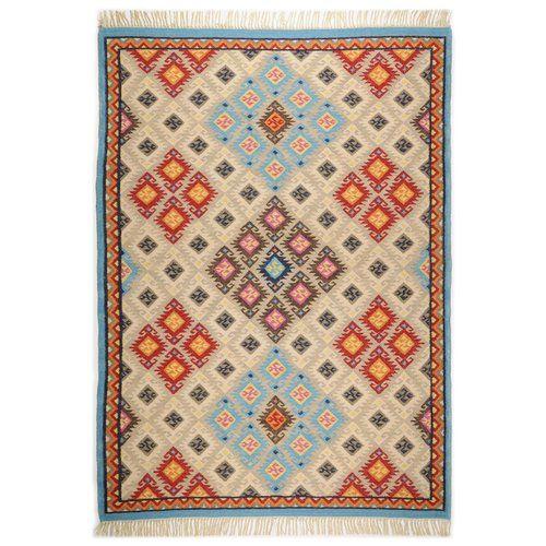 Kelim Royal Handwoven Wool Beige Orange Rug Theko Rug Size Rectangular 140 X 200cm Orange Rugs Rugs Beige Rug