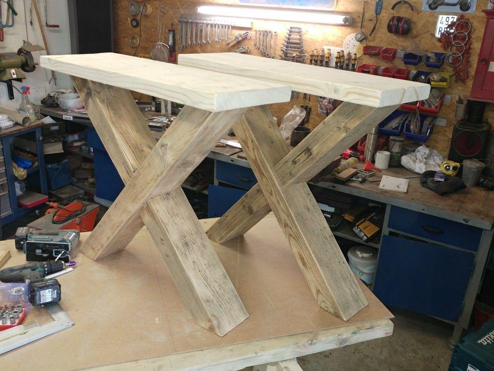 Tischbeine XBein Tisch Esstisch Gerüstbohle Bank Bauholz