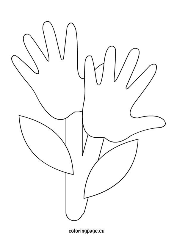 Hand flowers. These could work as an Earth Day activity for kids ...