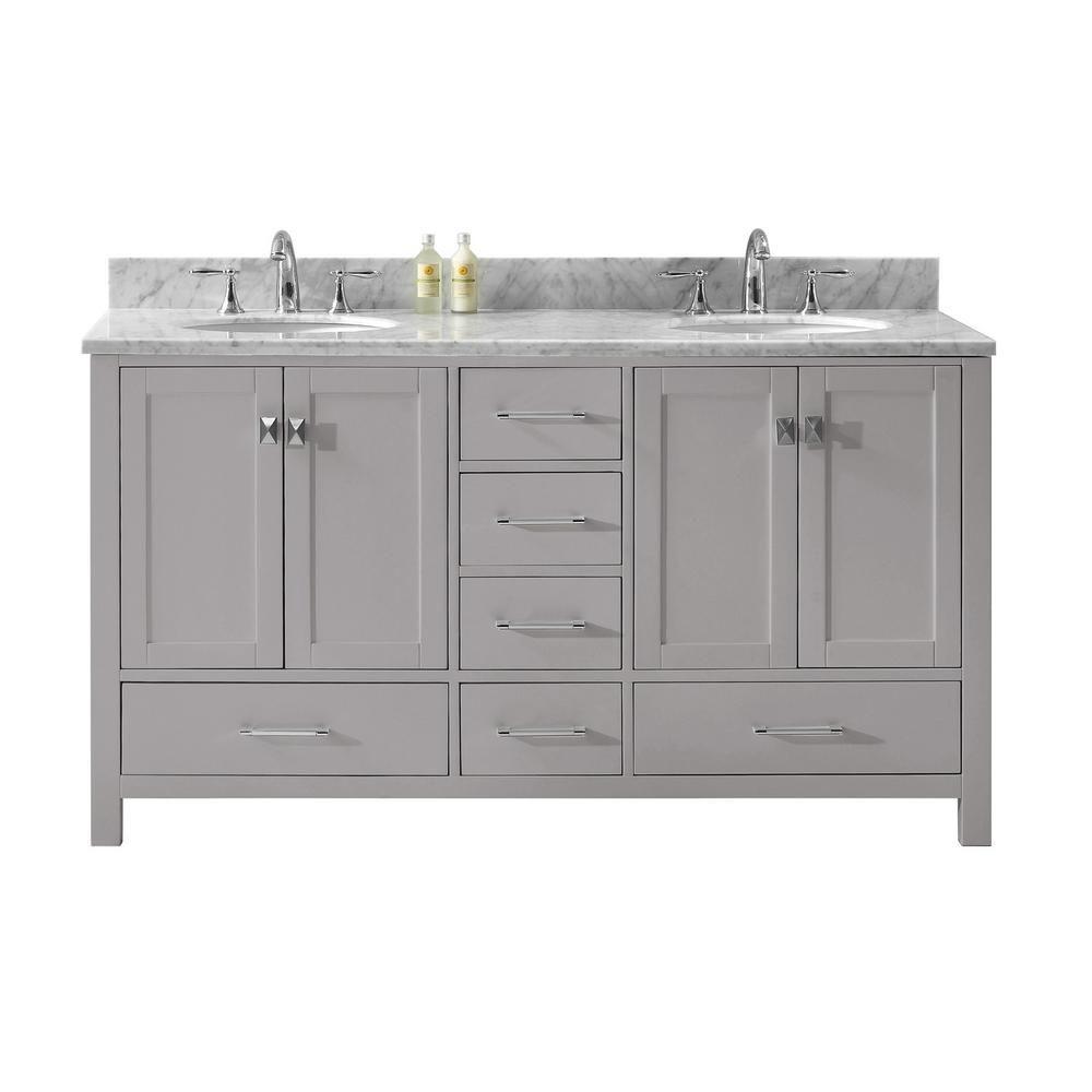 Virtu Usa Caroline Avenue 60 In W Double Bath Vanity In Cashmere