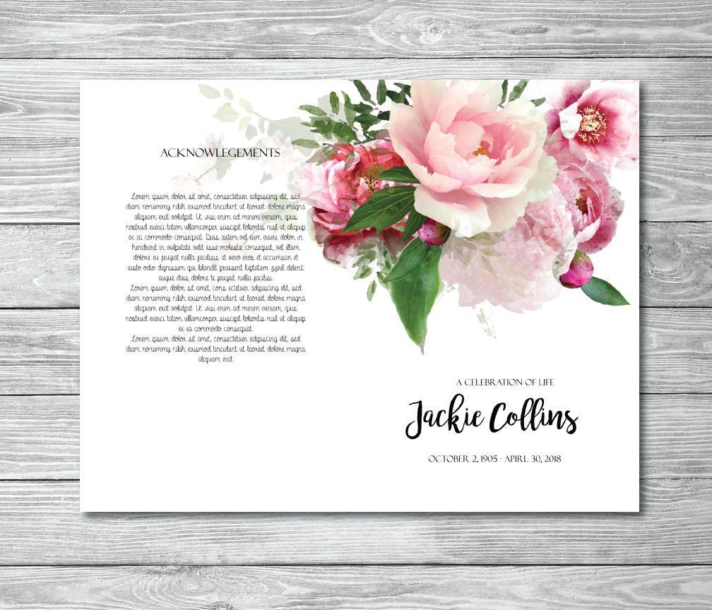 Printable Memorial Program Printable Funeral Program Template
