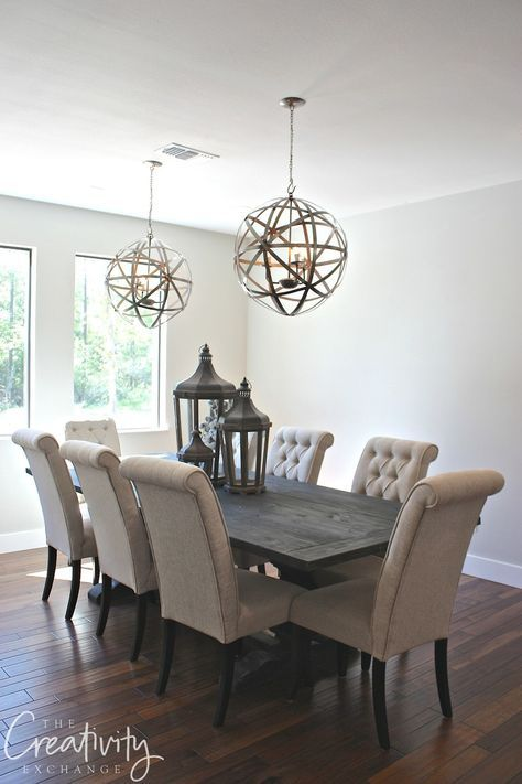 Paint color is Repose Gray from Sherwin Williams Dining Rooms