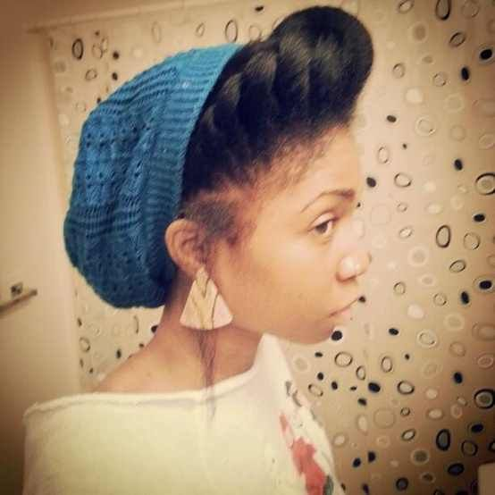 b7c4df18c06 How to rock a beanie. Beanie + flat twist into a pompadour (Bglhonline.com)