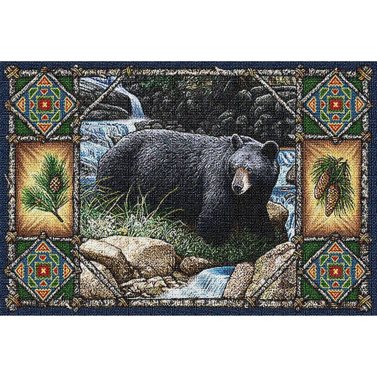Bear Mountain Tapestry Placemat Set of 4 Lodge Cabin House Lake Kitchen Decor