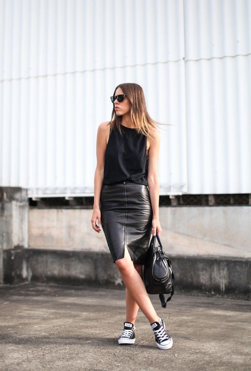 Black muscle tank top, black leather pencil skirt, black Converse sneakers