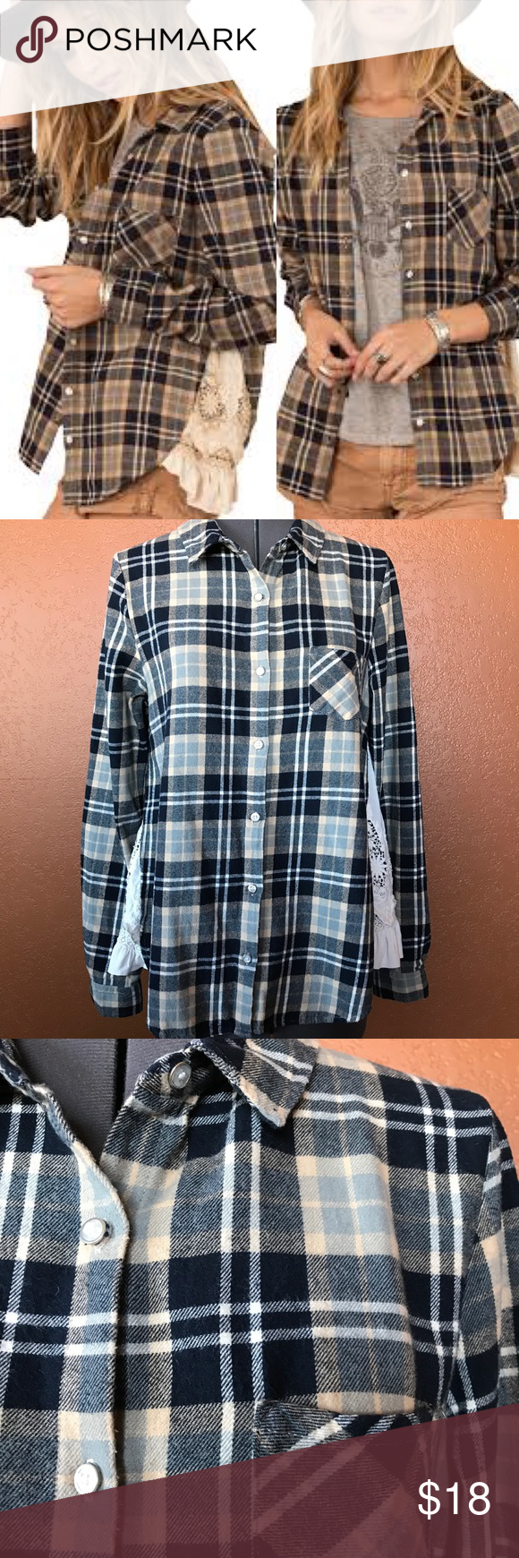 d8b2fed24ad White Crow Santa Fe Flannel with Lace Panels Imagine stealing your  boyfriend s or hubby s favorite worn-in flannel and customizing it with  ruffled lace on ...