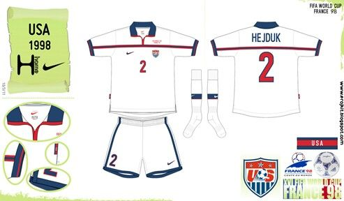 USA home kit for the 1998 Wold Cup Finals.