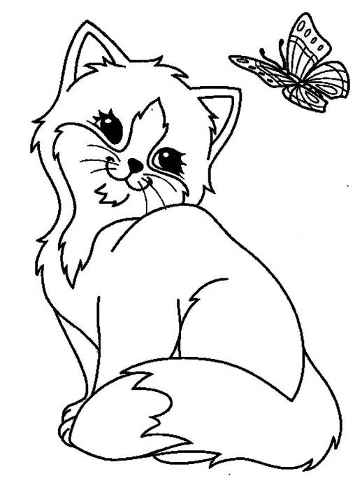 23017 Cute Animal Coloring Pages With Big Eyes Jpg 518 690 Cat